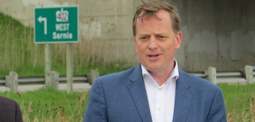 Ontario Transportation Minister Jeff Yurek announces a pilot project to increase speed limits on select 400 series highways in the province, May 10, 2019. (Photo by Miranda Chant, Blackburn News)