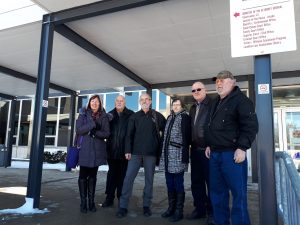 (From left to right) Dianne Russell, Jordy Speake, John Russell, Gayle MacGregor, Doug Bonesteel, and Scott MacGregor outside the Sarnia courthouse. February 28, 2019. (Photo by Colin Gowdy, BlackburnNews)