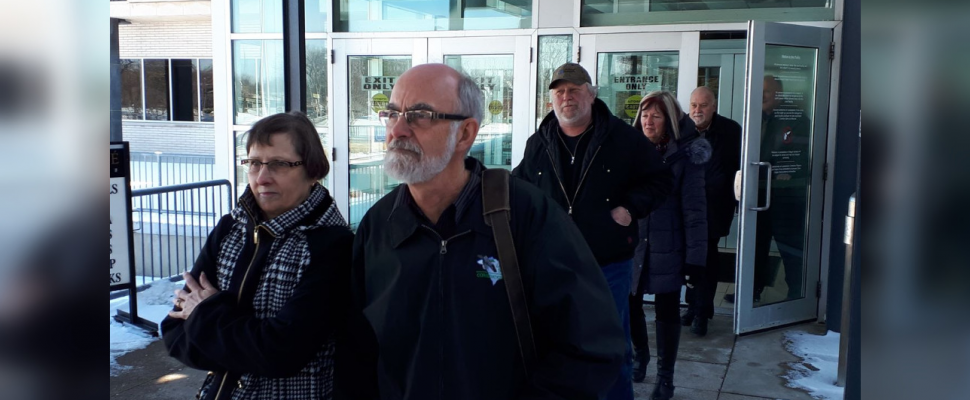 The six applicants challenging municipal election results in Lambton Shores leaving the Sarnia courthouse. February 28, 2019. (Photo by Colin Gowdy, BlackburnNews)