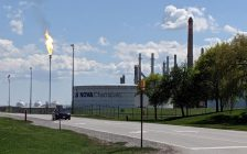Flaring at NOVA's Corunna facility. May 14, 2019. (Photo by BlackburnNews)