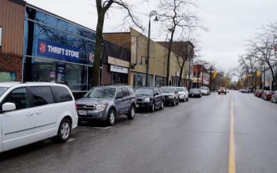 Vehicles parked on Christina Street in Sarnia. May 7, 2019. (Photo by Colin Gowdy, BlackburnNews)