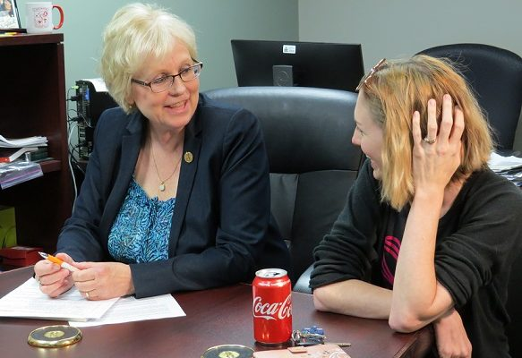 London West MPP Peggy Sattler speaks with Sarah Farrants a mother of a 3 -year-old boy with autism, May 27, 2019. (Photo by Miranda Chant, Blacknburn News)