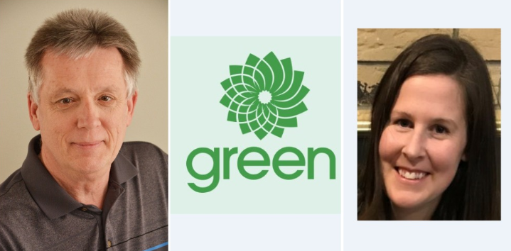 (From left to right) Peter Smith, Green Party of Canada logo, Lorraine Dolbear.