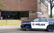 Sarnia Police cruiser outside police headquarters on Christina Street. May 23, 2019. (Photo by Colin Gowdy, BlackburnNews)
