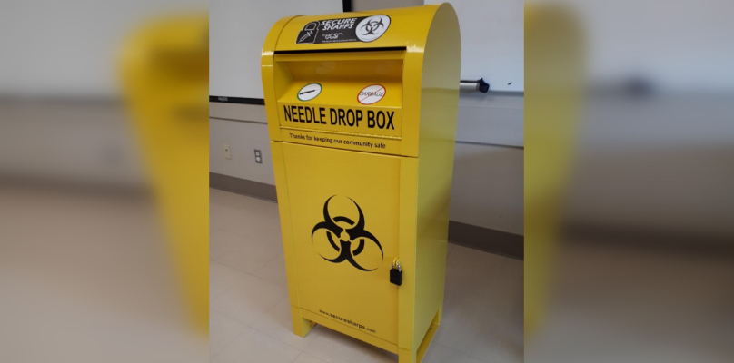 Sharps Disposal Bin. (Photo courtesy of Lambton Public Health)