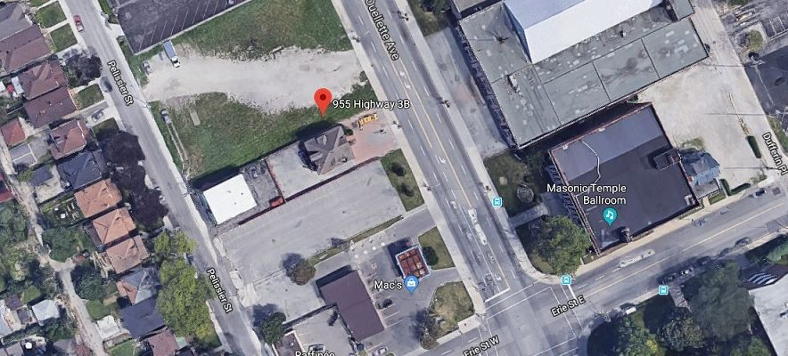 A satellite photo of 955 Ouellette Avenue in Windsor. (Photo courtesy of google.com/maps)