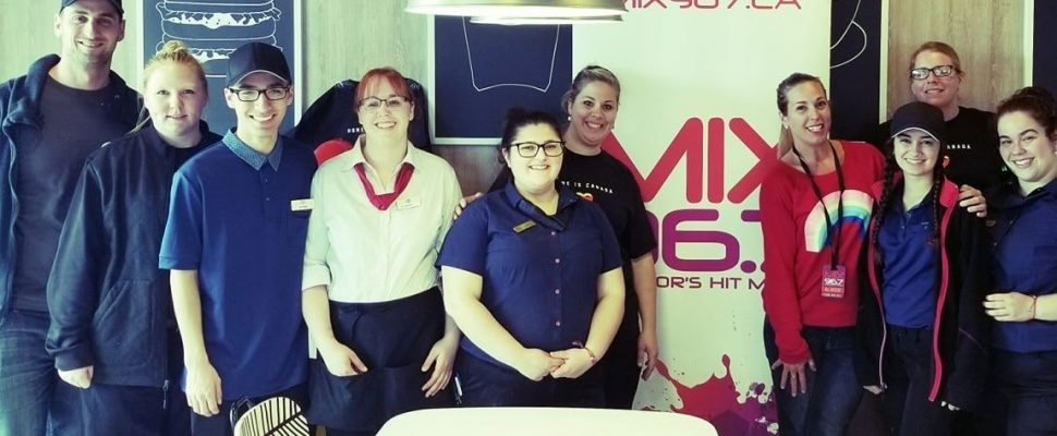 Jay and Kendal from MIX 96.7 help out at McHappy Day, May 8 2019.