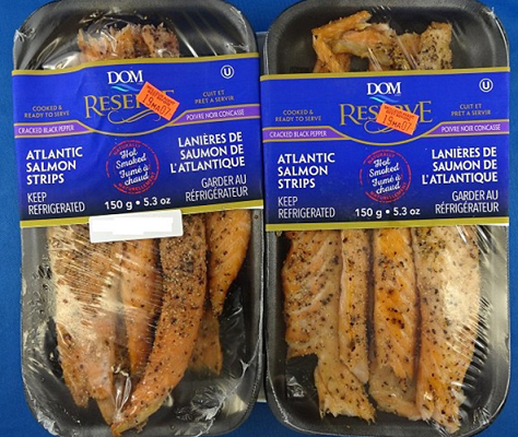 Dom Reserve brand Atlantic Salmon Strips (Hot Smoked) Cracked Black Pepper. Photo courtesy of the Canadian Food Inspection Agency.