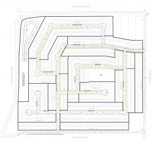 A blueprint from Maple City Homes laying out the projected nine-phase project. (Submitted by Maple City Homes)