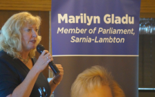 Sarnia-Lambton MP Marilyn Gladu speaks during a 338 Conversations event at the Sarnia Riding Club. June 21, 2019. (BlackburnNews photo by Colin Gowdy)