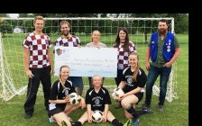 Back: Scott Dolmage and Tyler Jutzi of Brussels Burgundy, Minor Soccer Coordinator Patricia Beuermann, Brussels Burgundy Meagan O'Hara, Optimist Club Chair Cole McLean Front: U15 Girls Leah Partridge, Cameron TeRaa, and Shawna Terpstra.