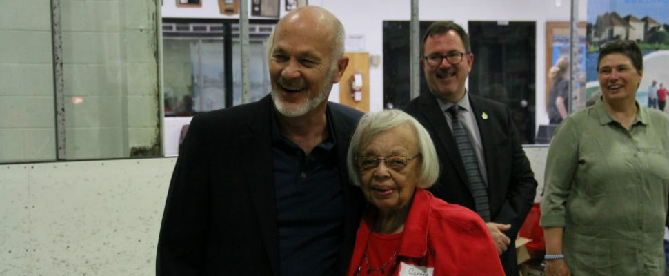 MP Dave Van Kesteren poses with 95-year-old Cleta Morris, also known as Aunt Cleta, during the Chatham-Kent senior expo on Friday. (Photo by Michael Hugall)
