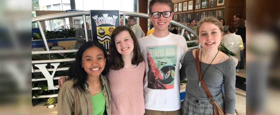 Sarnia St. Patrick's High School students (left to right) Isabela Gorgonio, Katire pitcher, Charlie McAllister and Madelaine Boucher gather outside Sarnia council chambers after council voted to declare a climate emergency. June 17, 2019 Photo by Melanie Irwin