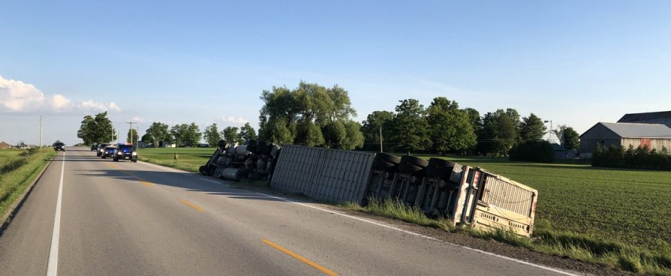 Police respond to a crash on Wellington Road 16 east Mount Forest, June 27, 2019. (Photo courtesy of the OPP via Twitter)