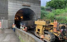 Removal of damaged rail cars underway at Port Huron end of St. Clair Tunnel (Photo courtesy of James Freed via Twitter)
