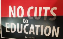 The Greater Essex Elementary Teachers Federation of Ontario (ETFO) held a forum Friday evening to protest provincial education cuts, privatizing health care, attacking injured workers and much more. June 7, 2019. (Photo by Paul Pedro)