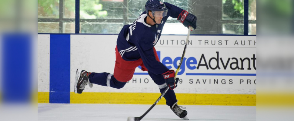 Eric Hjorth taking part in an NHL mini-camp with the Columbus Blue Jackets. June 2019. (Photo provided by Sarnia Sting from NHL.com)