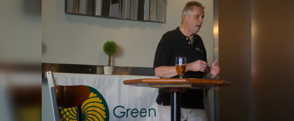 Peter Smith speaks to a crowd during a Sarnia-Lambton Federal Green Party nomination meeting. June 18, 2019. (BlackburnNews photo by Colin Gowdy)