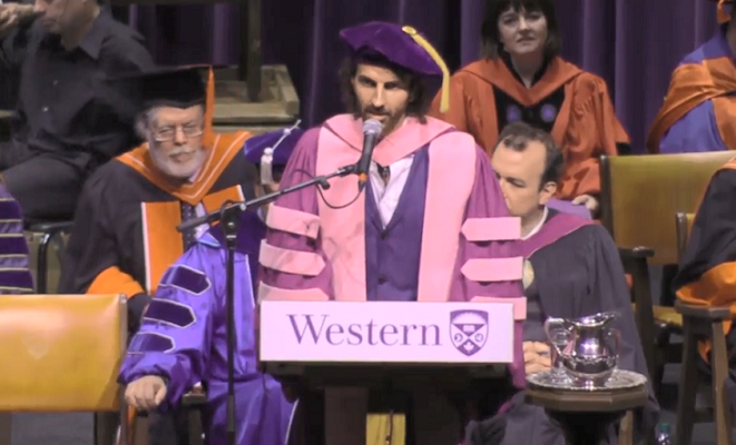 Stephan Moccio addresses graduates at Western University's 313th convocation, June 17, 2019. (Photo from Western University YouTube.)