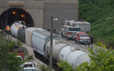 Train derailment inside the St. Clair tunnel between Sarnia and Port Huron. June 28, 2019. (BlackburnNews photo by Colin Gowdy)