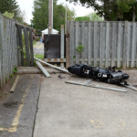 A motorcycle crashed through a fence at Brydges and Cornish Streets, May 25, 2018. Photo courtesy of the SIU.