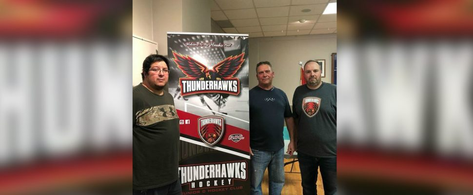From left: Louie Blackbird, Ken Shine and Daryl Lucio unveil the Thunderhawks logo. (Photo sourced from the Wallaceburg Thunderhawks via Instagram)