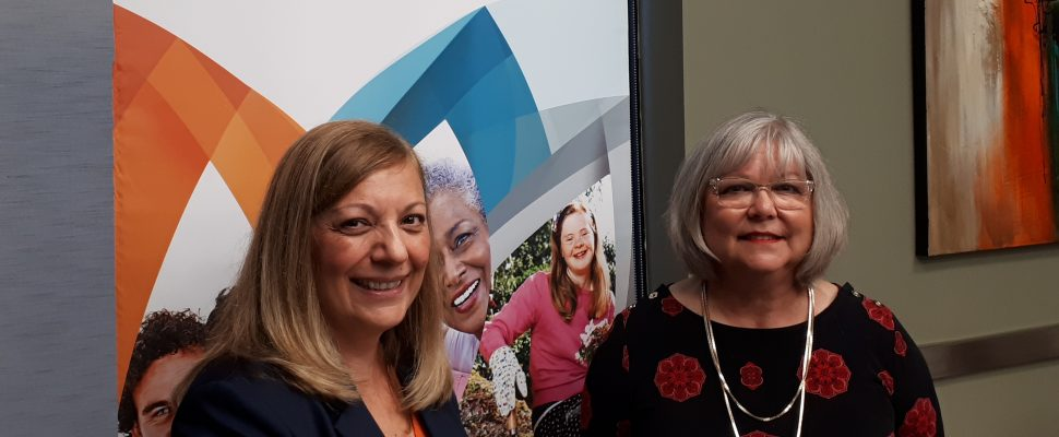 Joyce Zuk of Family Services Windsor-Essex, left, and Wendy Dupuis, executive director of Financial Fitness, at the FSWE on July 22, 2019. Photo by Mark Brown/Blackburn News.