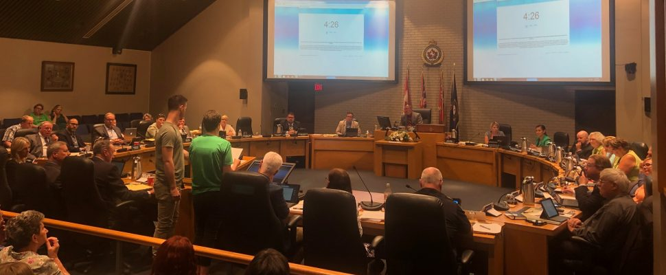 Simon Swanek and Reanne Rekker giving a deputation at a council meeting on Monday, July 15, 2019 and the Civic Centre in Chatham. (Photo via Zero Waste CK Facebook)