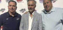 Windsor Spitfires general manager Bill Bowler, left, president John Savage and former GM Warren Rychel at the WFCU Centre, July 11, 2019. Photo courtesy Windsor Spitfires.
