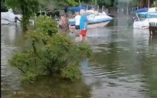 Flooding consumes yards in Lighthouse Cove after a storm in June. (Photo submitted by Shelly Jack Copeland)