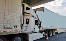 Police respond to a serious crash involving two transport trucks on Highway 401 in Dutton, July 5, 2019. (Photo courtesy of the OPP)