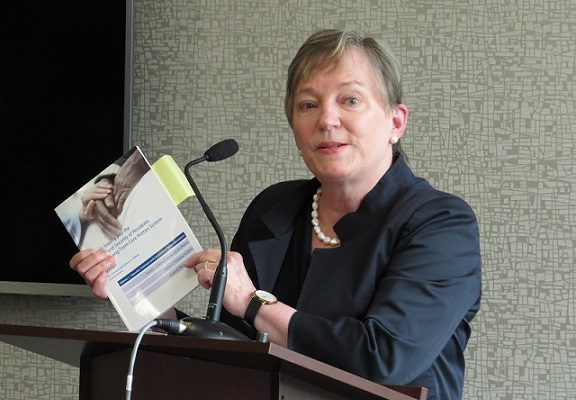 Inquiry Commissioner Eileen Gillese delivers her report in Woodstock, July 31, 2019. (Photo by Miranda Chant, Blackburn News.)