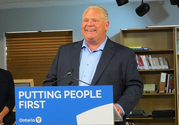 Premier Doug Ford speaks in Lucan about high speed internet for rural Ontario, July 23, 2019. (Photo by Miranda Chant, Blackburn News.)