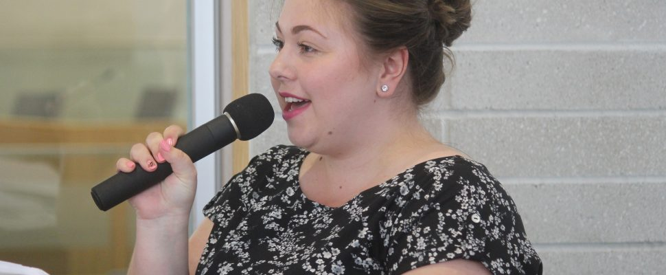Breanna Pomeroy talks about the HDGH MOST program at Windsor City Hall, July 9, 2019. Photo by Mark Brown/Blackburn News.