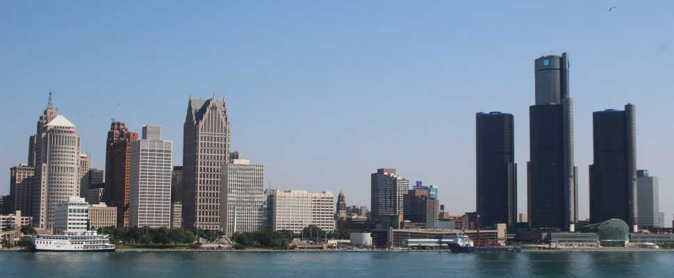 The Detroit skyline is seen from the St. Clair Centre for the Arts on July 10, 2019. Photo by Mark Brown/Blackburn News.