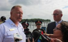 Windsor Port Authority Harbourmaster Peter Berry speaks to reporters as Windsor Acting Police Chief Pam Mizuno and Mayor Drew Dilkens listen at Lakeview Park Marina on July 12, 2019. Photo by Mark Brown/Blackburn News.