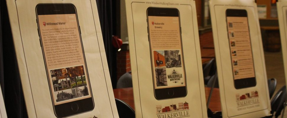 Images from the new online walking tour of Walkerville are displayed at Walkerville Brewery, Windsor, July 19, 2019. Photo by Mark Brown/Blackburn News.
