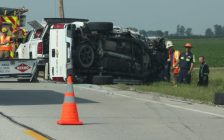 Traffic is reduced to one lane after a monday morning crash in Chatham. Photo by Michael Hugall)