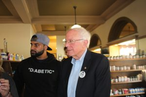 Sahil Mehta and Democratic Presidential candidate Bernie Sanders in Windsor July 28, 2019. (Photo by Adelle Loiselle)