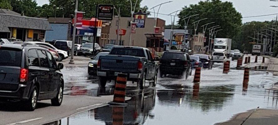 Flooding is seen on Front Road in LaSalle on July 8, 2019. Photo courtesy of Town of LaSalle.