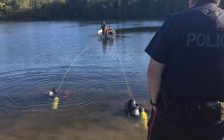 Police search a lake in Normanby Township for a man who went missing while canoeing, August 14, 2019. (Photo courtesy of the West Grey Police Service)