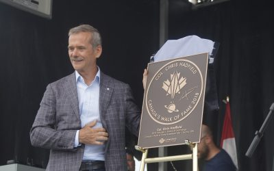 Chris Hadfield at Canada's Walk of Fame Hometown Star Celebration. August 6, 2019. (BlackburnNews photo by Colin Gowdy)