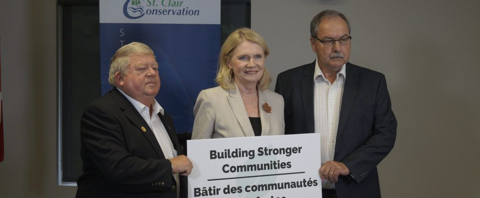 (From right to left) St. Clair Twp. Deputy Mayor Steve Miller, London West MP Kate Young and St. Clair Region Authority Chair Joe Fass in Strathroy. August 27, 2019. (BlackburnNews photo by Colin Gowdy)