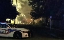 Emergency crews respond to Woodman Avenue in London after a car crashed into a house, causing an explosion, August 14, 2019. (Photo courtesy of Roger Caranci via Twitter)