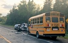 Emergency crews responded to a head-on crash between a car and a school buson Wellington County Road 124 in Erin, August 15, 2019. (Photo courtesy of the OPP)