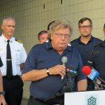 London Mayor Ed Holder provides an update about the Old East Village explosion, August 15, 2019. (Photo by Miranda Chant, Blackburn News)