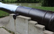 A replica cannon in Tecumseh Park was painted by vandals on Monday. Photo by Michael Hugall)