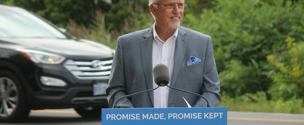 Chatham-Kent-Leamington MPP Rick Nicholls announcing the planned widening of Highway 3 in Leamington, August 12, 2019. Photo by Mark Brown/Blackburn News.
