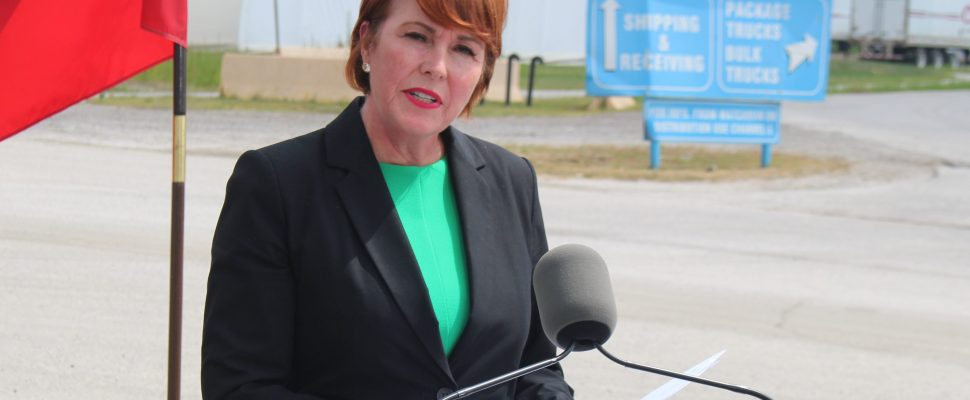 Burlington MPP Jane McKenna, parliamentary secretary to the Ontario Minister of Labour, announces a mining safety blitz at the Windsor Salt Mine, August 16, 2019. Photo by Mark Brown/Blackburn News.