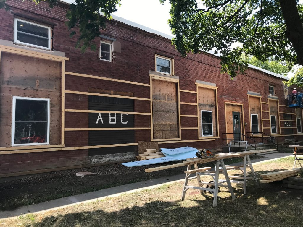 Exterior work continues on the former ABC Daycare, which will now offer transitional housing. August 8, 2019 Photo by Melanie Irwin